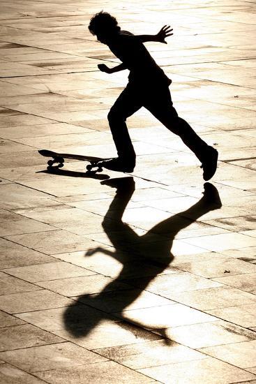 A Skateboarder Takes Advantage of a Sunny and Warm Day-Andrzej Grygiel-Photographic Print
