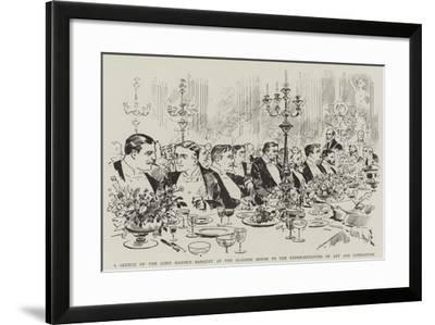 A Sketch of the Lord Mayor's Banquet at the Mansion House to the Representatives of Art and Literat--Framed Giclee Print