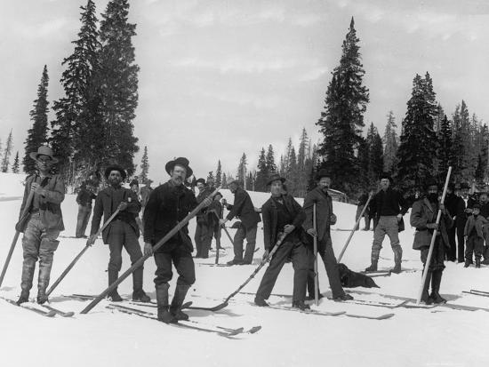 A Ski Brigade, C.1910-20--Photographic Print