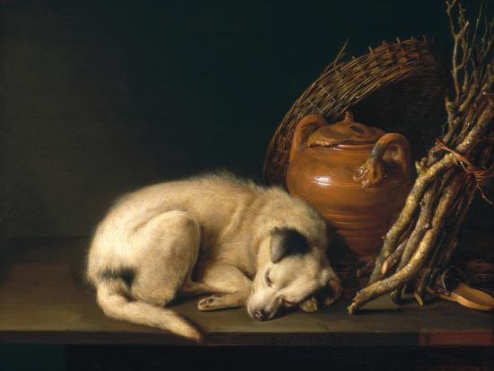 A Sleeping Dog with Terracotta Pot, 1650-Gerrit or Gerard Dou-Giclee Print