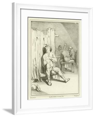 A Sleeping Drunkard-Adriaen Brouwer-Framed Giclee Print