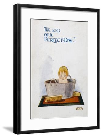 """A Slightly Bewildered Child Sits in a Zinc Bath: """"The End of a Perfect Day.""""--Framed Giclee Print"""