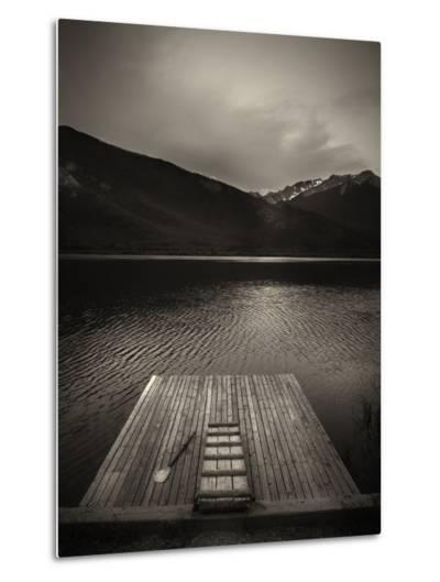 A Small Dock on Vermillion Lakes at Dusk-Keith Barraclough-Metal Print