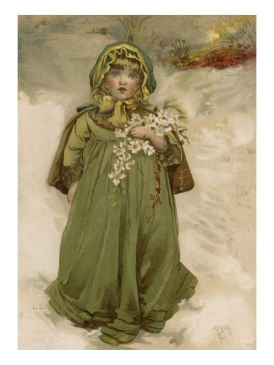 A Small Girl Carries an Armful of Christmas Roses Through the Snow--Giclee Print