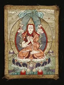 A Small Tibetan Applique Thang.ka Depicting Tsong.Kha.Pa, 18th Century