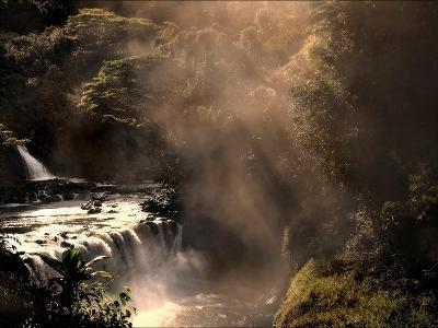 A Small Waterfall in the Jungle with Sun Rays-Jody Miller-Photographic Print