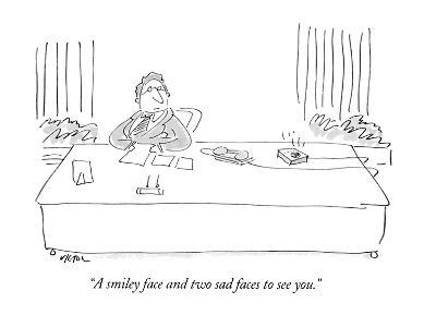 """A smiley face and two sad faces to see you."" - New Yorker Cartoon-Dean Vietor-Premium Giclee Print"