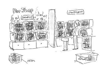 A smoking pets and a non-smoking pets section in a pet shop. - New Yorker Cartoon-Dean Vietor-Premium Giclee Print