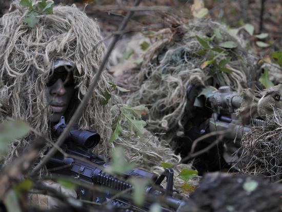 A Sniper Team Spotter and Shooter-Stocktrek Images-Photographic Print