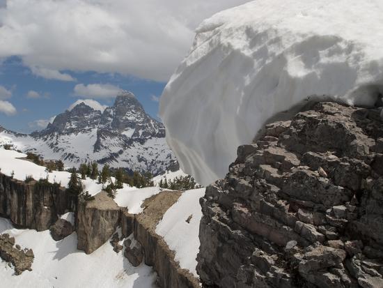 A Snow Cornice on a Ridge in Front of Teton Range-Greg Winston-Photographic Print