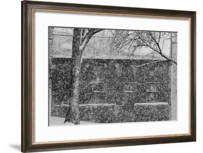 A Snowstorm Slams the Cove Warehouse in the Historic District of Old Wethersfield-Brian Drouin-Framed Photographic Print