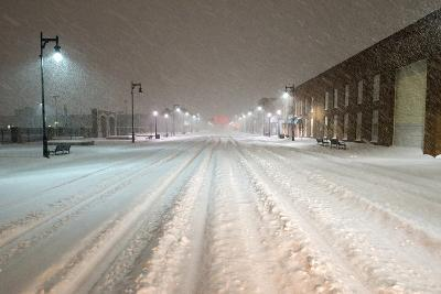 A Snowstorm Strikes a City in the Middle of the Night-Jim Reed-Photographic Print