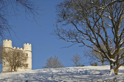 A Snowy Winter View of a Victorian 'Folly' Castle, Haldon Belvedere-Nigel Hicks-Photographic Print