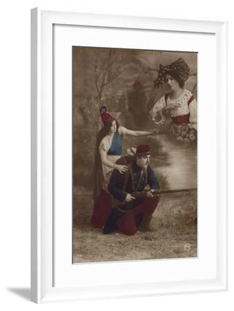 A Soldier Is Guided by Liberty and Thinks of Home--Framed Photographic Print