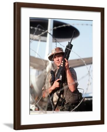 A Soldier Posts Security During Operation Desert Storm-Stocktrek Images-Framed Photographic Print