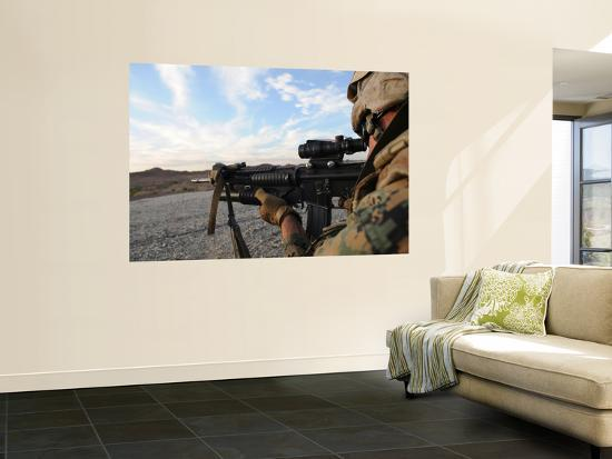 A Soldier Sights in to Fire on a Target on a Shooting Range-Stocktrek Images-Wall Mural