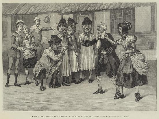 A Soldiers' Theatre at Woolwich, Pantomime at the Artillery Barracks--Giclee Print