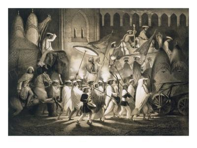 Delhi: Cortege and Retinue of the Great Moghul, from 'Voyages in India', 1859 (Litho)