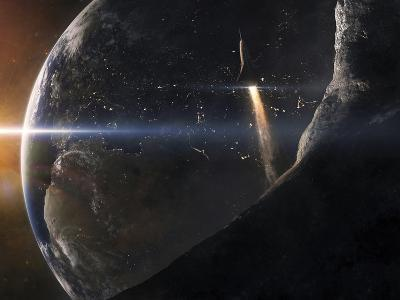 A Space Shuttle Flying Over An Asteroid That Is Passing Close To Earth-Stocktrek Images-Photographic Print
