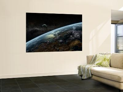 A Space Station Orbits a Hypothetical Planet-Stocktrek Images-Giant Art Print