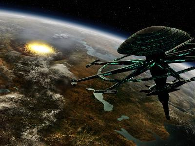 A Space Station Orbits a Terrestrial Planet That Has Been Hit by an Asteroid-Stocktrek Images-Photographic Print