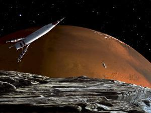 A Spaceship in Orbit over Mars Moon, Phobos, with the Red Planet Mars in the Background