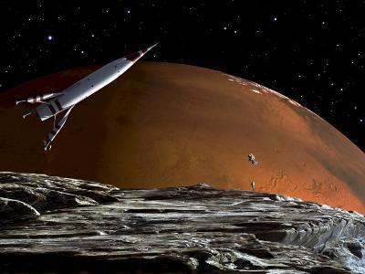A Spaceship in Orbit over Mars Moon, Phobos, with the Red Planet Mars in the Background--Photographic Print