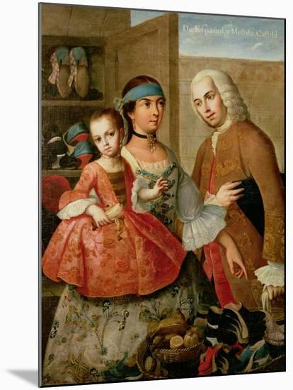 A Spaniard, His Mexican Indian Wife and Child, from a Series on Mixed Race Marriages in Mexico-Miguel Cabrera-Mounted Giclee Print