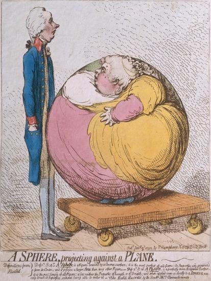 A Sphere Projecting Against a Plane, Published by Hannah Humphrey in 1792-James Gillray-Giclee Print