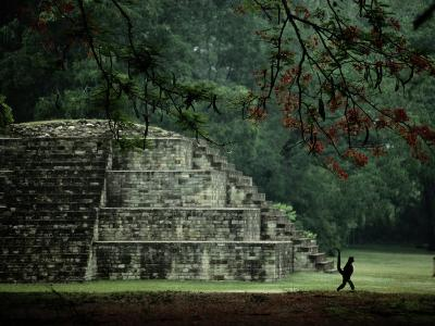 A Spider-Monkey Strolls Past a Small Pyramid-Kenneth Garrett-Photographic Print