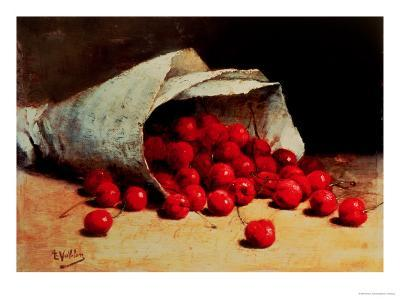 A Spilled Bag of Cherries-Antoine Vollon-Giclee Print