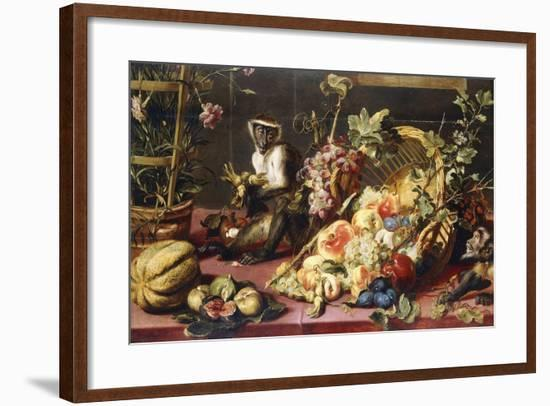 A Spilled Basket of Fruits on a Draped Table with Monkeys-Frans Snyders-Framed Giclee Print