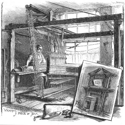 A Spitalfields Silk Weaver at His Hand Loom, 1884--Giclee Print