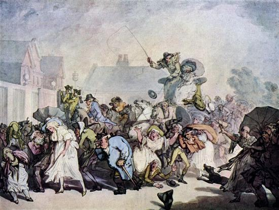 A Squall in Hyde Park, 1791-Thomas Rowlandson-Giclee Print
