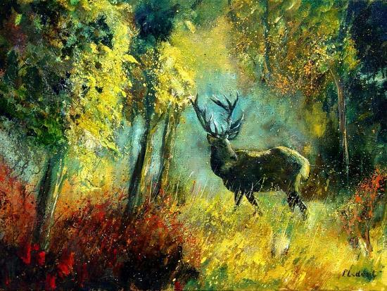 A Stag in the Wood-Pol Ledent-Art Print