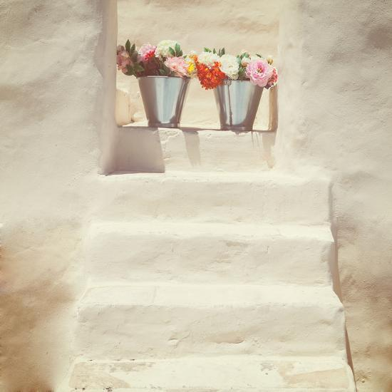 A Staircase of a Greek, White House with Two Bunches of Flowers-Joana Kruse-Photographic Print