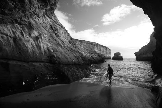 A Stand Up Paddleboarder on the Rough Coastline North of Santa Cruz-Ben Horton-Photographic Print