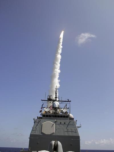 A Standard Missile 2 Is Launched from the Aegis Cruiser USS Lake Erie-Stocktrek Images-Photographic Print
