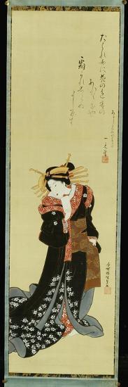A Standing Courtesan in a Black Kimono with White Flowerheads Holding a Wad of Paper-Utagawa Kunisada-Giclee Print