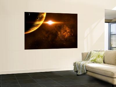 A Star Going Critical Illuminates a Nearby Planet and Nebula-Stocktrek Images-Wall Mural