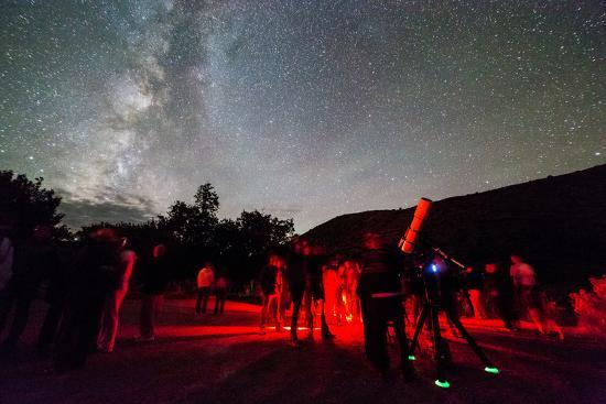 A Star Party Taking Place Below A Brilliant Night Sky, Capitol Reef National Park, Utah-Mike Cavaroc-Photographic Print