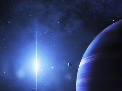 A Star Provides a Cool Glow on a Nearby Gas Giant-Stocktrek Images-Photographic Print