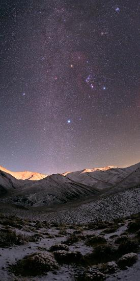 A Starry Sky over the Zagros Mountains after a Snowstorm. the Setting Moon Shines on the Peaks-Babak Tafreshi-Photographic Print
