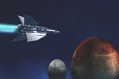 A Starship from Earth Travels to a Red Planet--Art Print