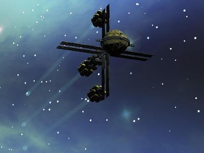 A Starship from Earth with Ion Drive Propulsion Explores the Cosmos--Art Print