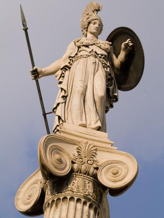 A Statue of Athena on a Column Outside the Academy of Athens-Richard Nowitz-Photographic Print
