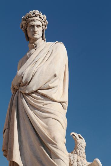 A Statue of Famous Italian Writer Dante Aligheri and an Eagle-Joe Petersburger-Photographic Print