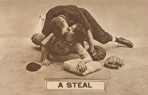 A Steal, Baseball Players Kissing