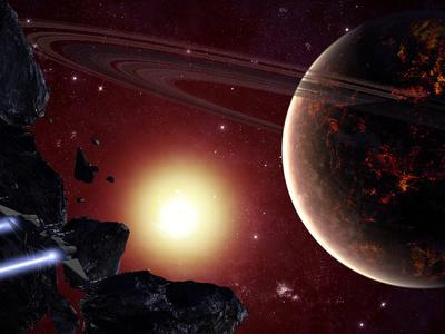 A Stealth Fighter En Route to Hades, a Ringed Planet-Stocktrek Images-Photographic Print