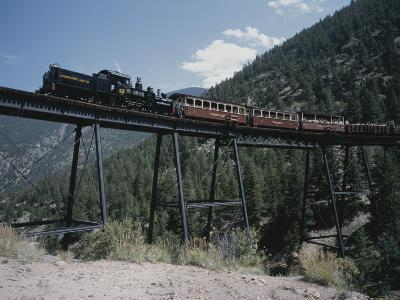 A Steam Engine Comes into the Silver Plume Station in Colorado-Taylor S^ Kennedy-Photographic Print
